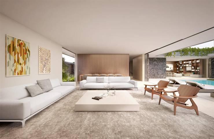 Casa H Living: Salas de estar  por Mader Arquitetos Associados
