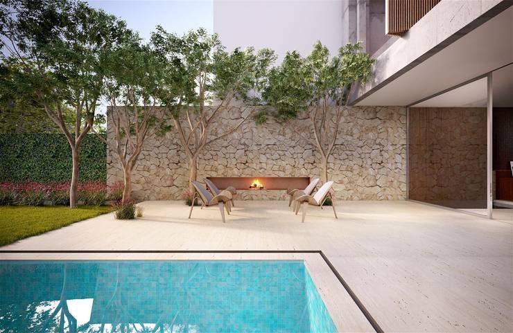 Casa H Fireplace: Piscinas  por Mader Arquitetos Associados