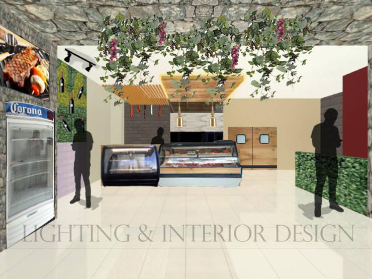 Carnicería Ibérica: Espacios comerciales de estilo  por Lighting Interior Design