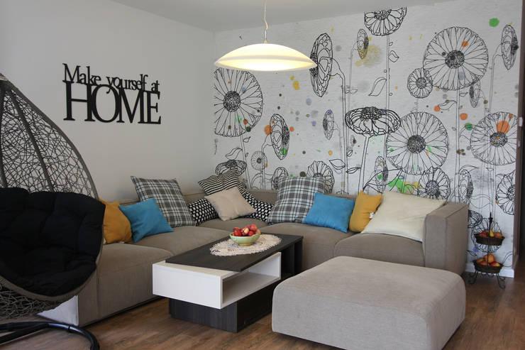 غرفة المعيشة تنفيذ Architektura Wnętrz Magdalena Sidor