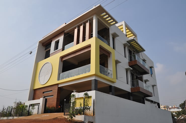 Exterior Elevation: modern Houses by DESIGNER GALAXY