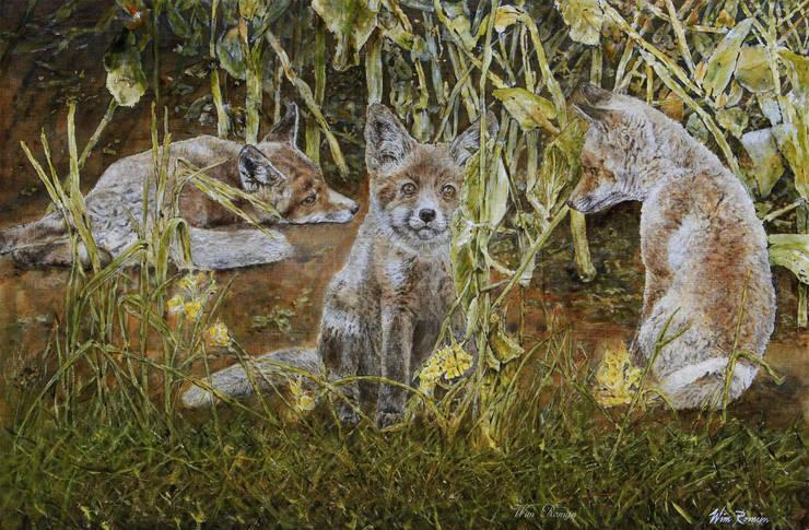 Jonge vossen in koolzaadveld:  Kunst  door Wim Romijn Art