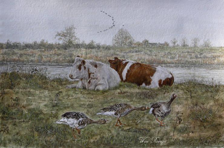 Pinken op de uiterwaard:   door Wim Romijn Art, Landelijk Papier