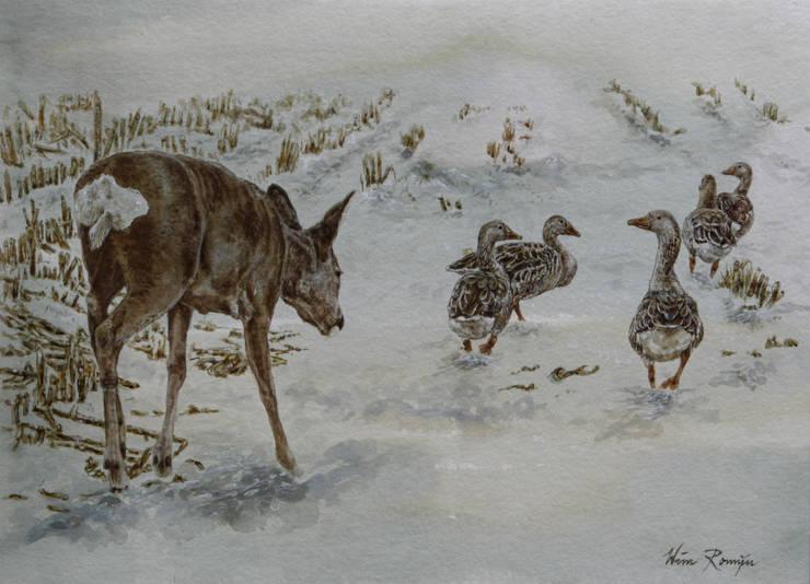 Reegeit te midden van grauwe ganzen:   door Wim Romijn Art, Landelijk Papier