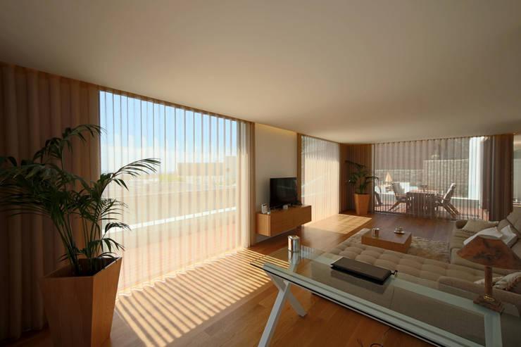 Salon de style de style Minimaliste par 3H _ Hugo Igrejas Arquitectos, Lda