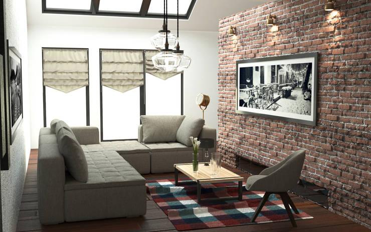 Salon z cegłą: styl , w kategorii Salon zaprojektowany przez GoodDesign,Industrialny