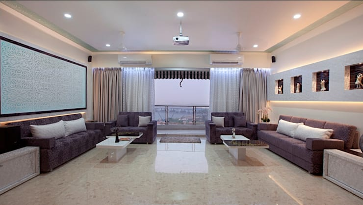 INTERIOR DESIGNERS IN KHARGHAR:  Living room by DELECON DESIGN COMPANY