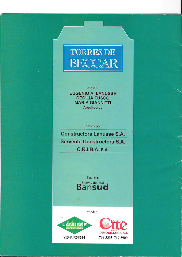 Torres de Beccar, Casa Ricau, Diego Palma 1727, Cosme Beccar 137, Martín y Omar, Torre Pellegrini.:  de estilo  por arq.ceciliafusco
