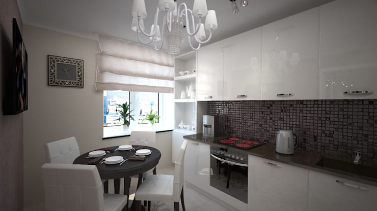 Сдержанный Ардеко на Кутузовском проспекте: Кухни в . Автор – дизайн-бюро ARTTUNDRA,