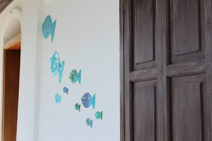 AÇIT MİMARLIK DEKORASYON İNŞ. SAN. TİC. LTD. – O.A. Ev Bodrum:  tarz Duvarlar