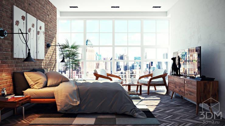 Dormitorios de estilo  de студия визуализации и дизайна интерьера '3dm2'