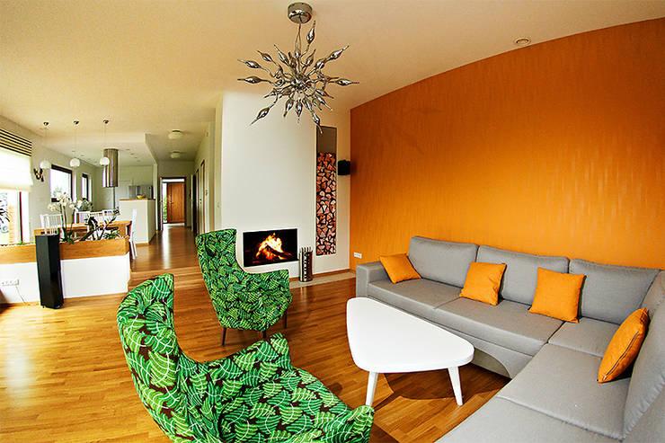 Salas / recibidores de estilo  por Biuro Projektów MTM Styl - domywstylu.pl