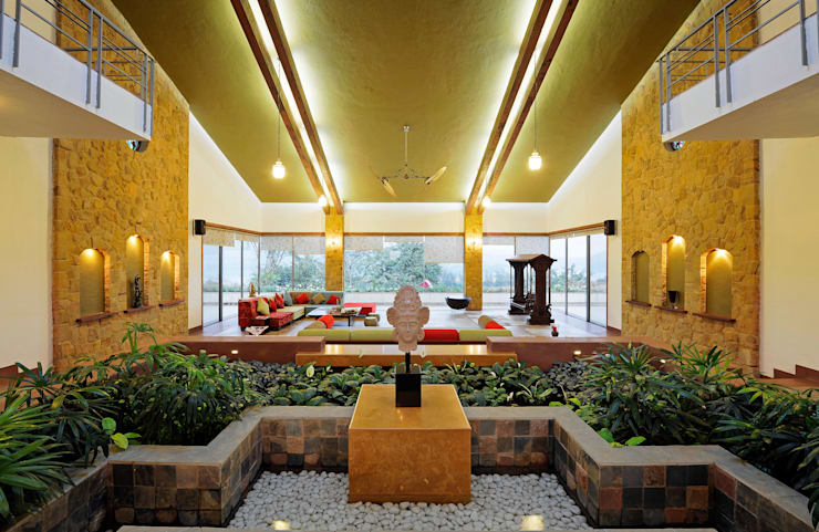 Lonavla Bungalow: asian Living room by JAYESH SHAH ARCHITECTS
