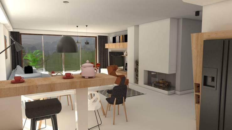 Widok z kuchni: styl , w kategorii Jadalnia zaprojektowany przez Katarzyna Wnęk