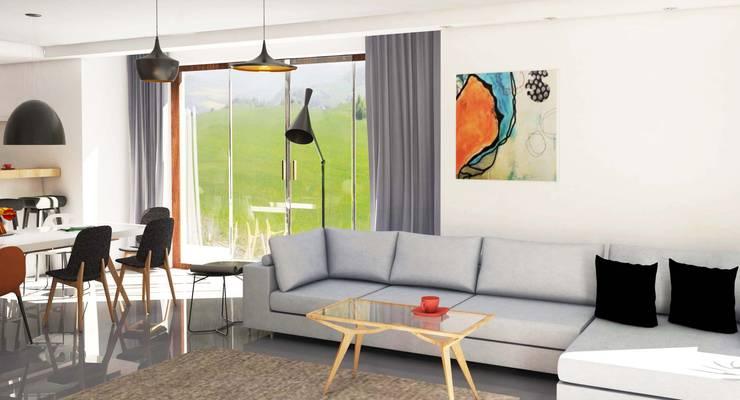 Widok na salon: styl , w kategorii Salon zaprojektowany przez Katarzyna Wnęk