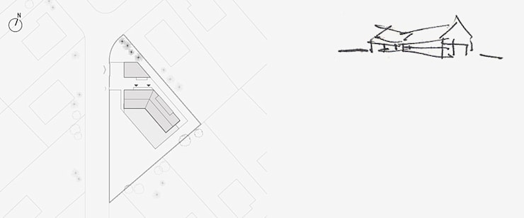 DOM NA TRÓJKĄTNEJ DZIAŁCE: styl , w kategorii Domy zaprojektowany przez BASK grupa projektowa