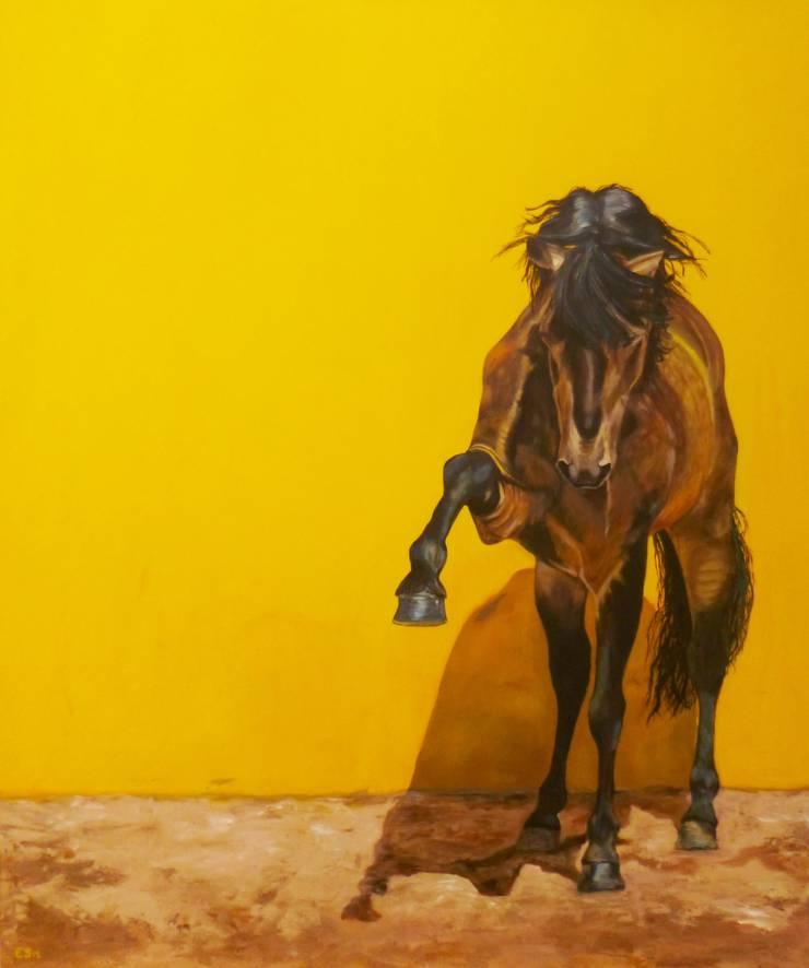 LUSITANO HENGST IN GEEL:  Kunst  door Paardenschilderij - Ellie Schrotenboer