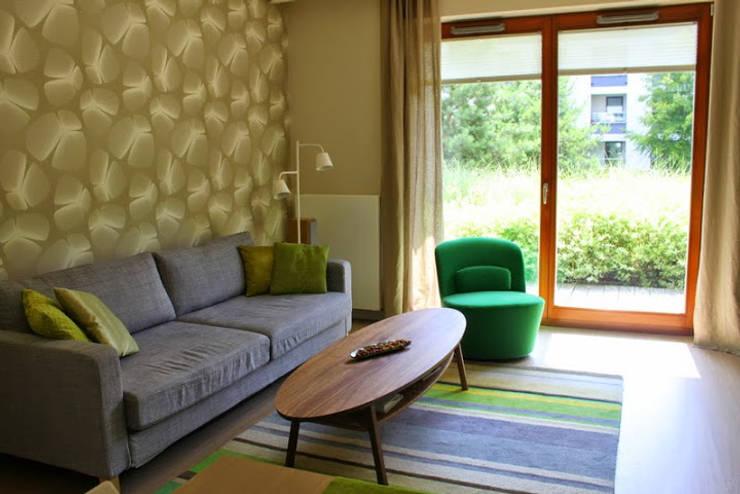 Mieszkanie 55m2 Warszawa, dla singla, pracującego w Warszawie: styl , w kategorii Salon zaprojektowany przez Studio Projektowania doMIKOart,Nowoczesny