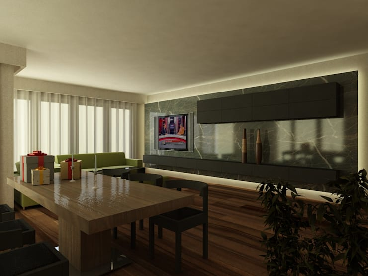 PRATIKIZ MIMARLIK/ ARCHITECTURE – ZD House Living Room:  tarz Oturma Odası