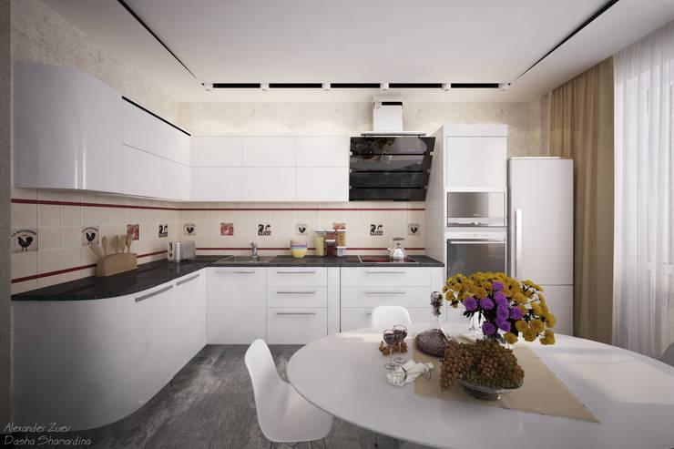 Два варианта кухонной мебели в современном стиле: Кухни в . Автор – Студия интерьерного дизайна happy.design,