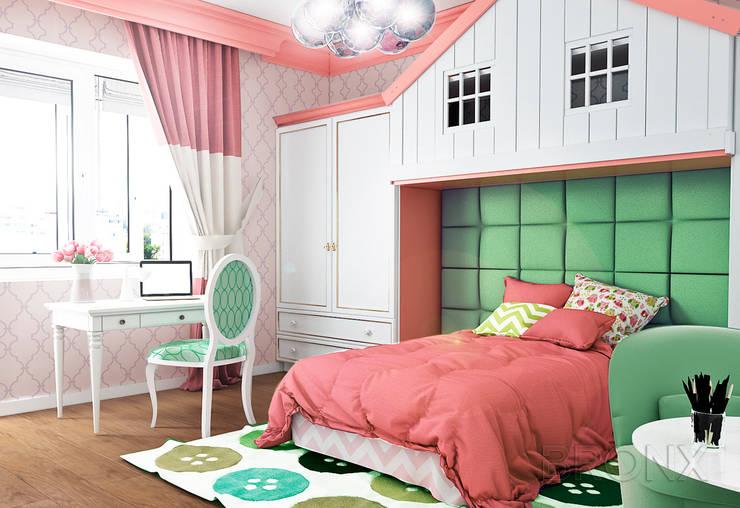 Городок Б, 117 м²: Детские комнаты в . Автор – Bronx,