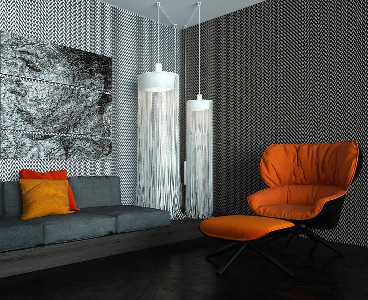Interior of an apartment house: Гостиная в . Автор – ALEXANDER ZHIDKOV ARCHITECT,