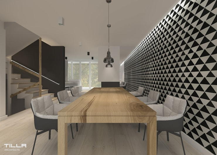 Dom pod Warszawą: styl , w kategorii Jadalnia zaprojektowany przez TILLA