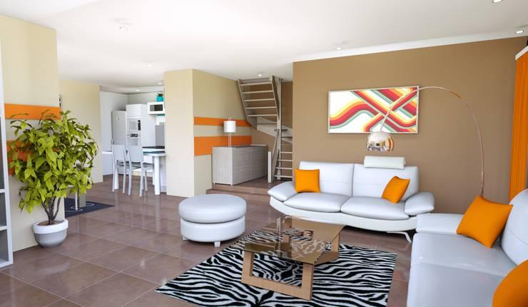 Rénovation complète villa 160 m²: Salon de style  par Agence 3Dimensions
