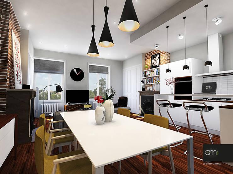 Appartement à Oullins (69): Salle à manger de style  par atelier AMEG