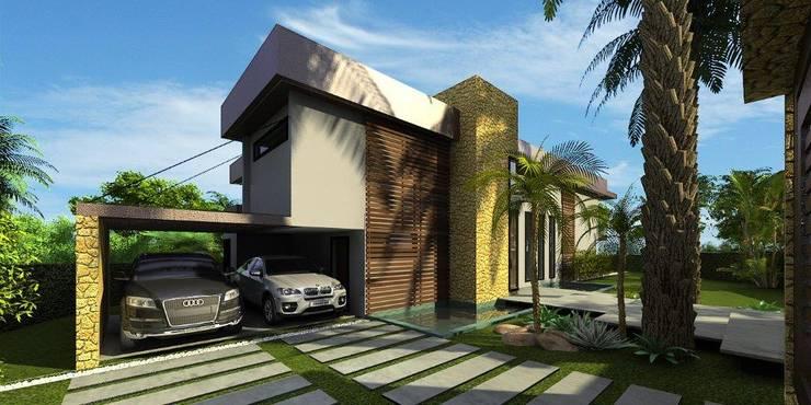 Perspectiva da entrada: Casas  por Simone Flores Arquitetos & Associados