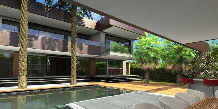 Área de Lazer: Casas  por Simone Flores Arquitetos & Associados