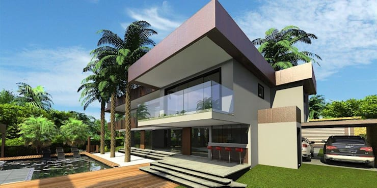 Vista geral: Casas  por Simone Flores Arquitetos & Associados