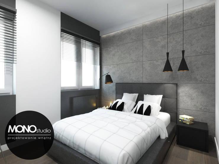 Oryginalna i nowoczesna sypialnia z akcentem. : styl , w kategorii Sypialnia zaprojektowany przez MONOstudio