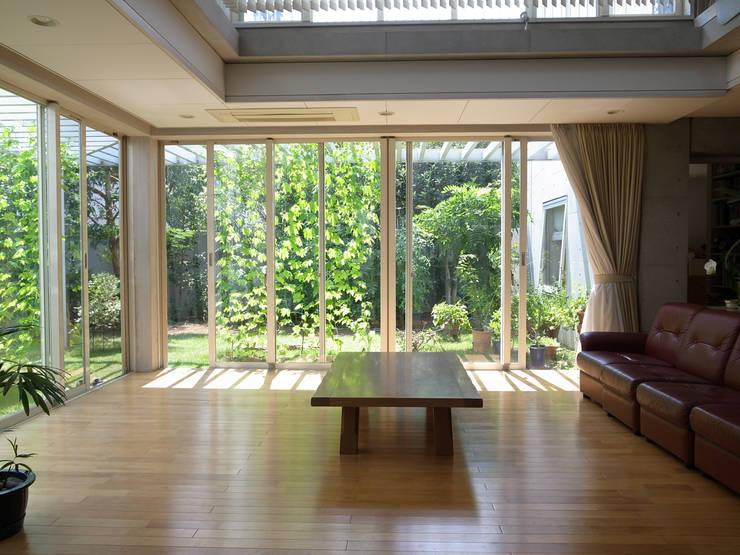 緑と空につながる家: 新野裕之建築設計 Hiroyuki Niino Architectureが手掛けたリビングです。,