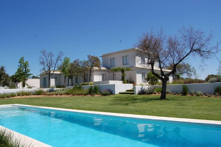Desde la piscina: Jardines de estilo mediterráneo de Alen y Calche S.L.