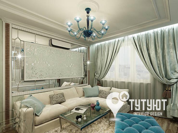 Нежный интерьер для счастливой хозяйки в ЖК <q>Университетский</q>: Гостиная в . Автор – Interior Design Studio Tut Yut