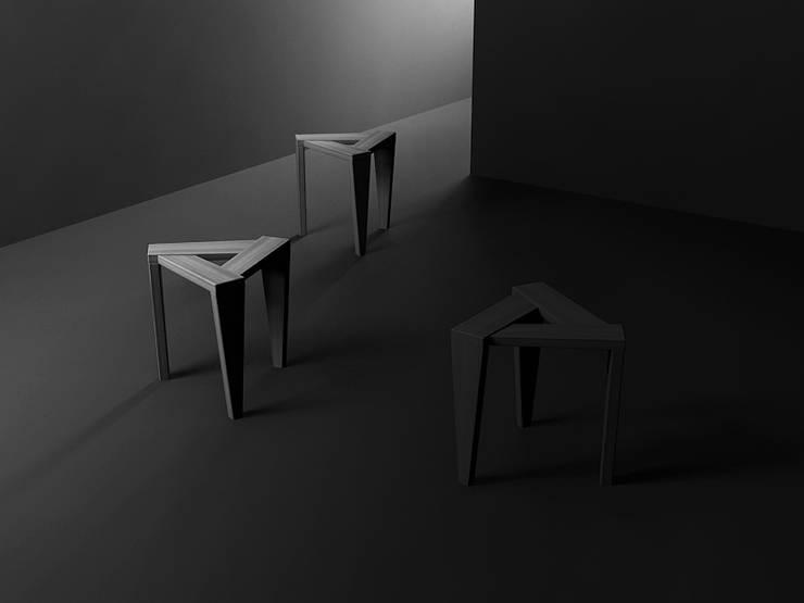 UKOS stołek : styl , w kategorii  zaprojektowany przez Iwona Kosicka Design,Skandynawski Drewno O efekcie drewna