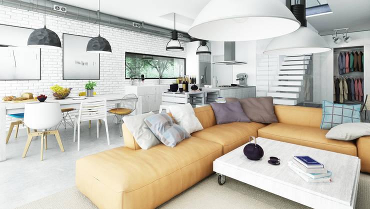 moderne Woonkamer door Majchrzak Pracownia Projektowa