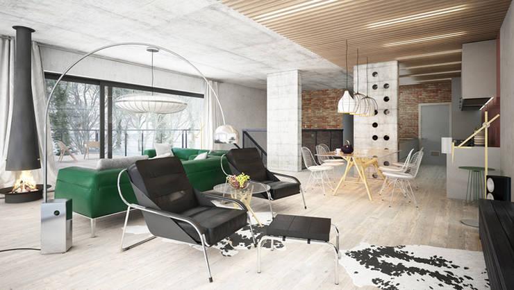 Projekty domów - House x07: styl , w kategorii Salon zaprojektowany przez Majchrzak Pracownia Projektowa