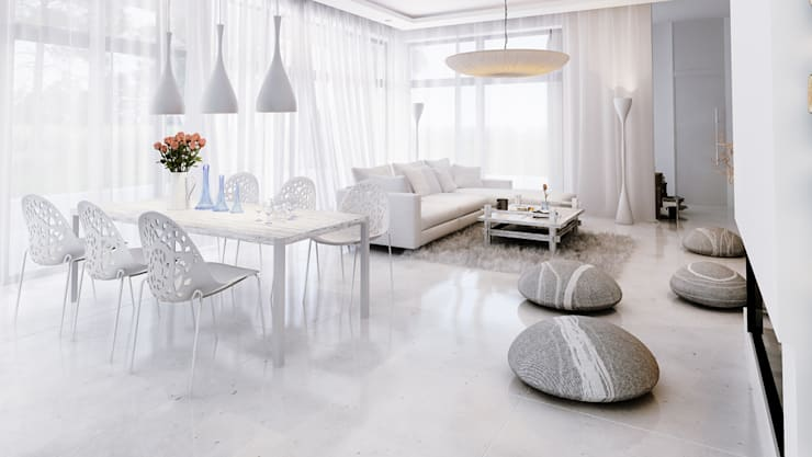 Projekty domów - House 11.1: styl , w kategorii Salon zaprojektowany przez Majchrzak Pracownia Projektowa