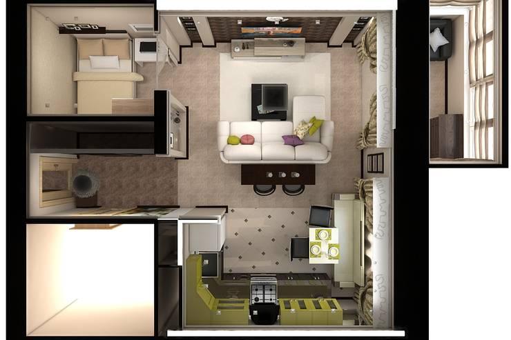 Вид сверху: Гостиная в . Автор – Дизайн студия Жанны Ращупкиной