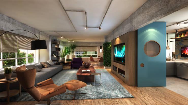 residência CE: Salas de estar industriais por Studio Marcio Michaluá