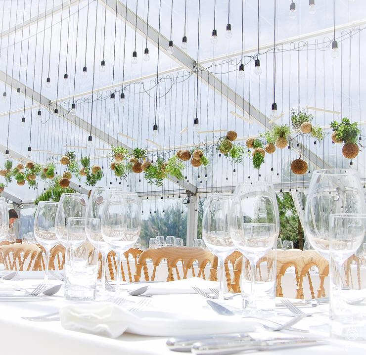 Instalação de plantas fiu suspensas na decoração de um evento: Jardins  por fiu jardins, lda.