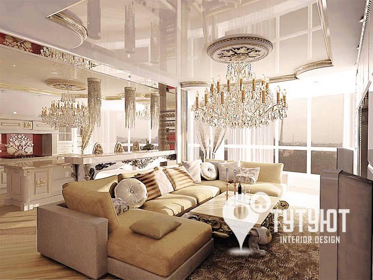 Квартира в ЖК <q>Антарес</q> в центре Екатеринбурга: Гостиная в . Автор – Interior Design Studio Tut Yut