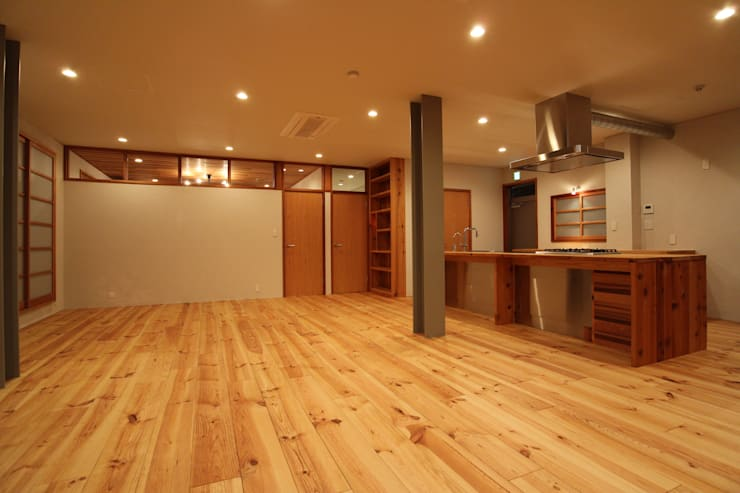 M邸リノベーション ミニマルデザインの リビング の 阿部工務所 ミニマル 木 木目調