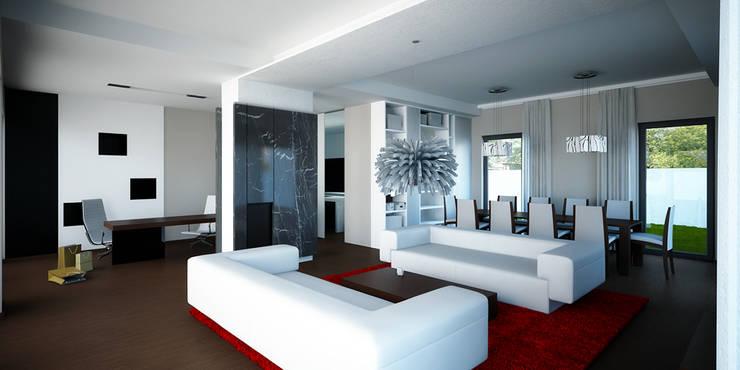 Projekt wykonawczy wnętrz, dom jednorodzinny, Wilczyce: styl , w kategorii Salon zaprojektowany przez Majchrzak Pracownia Projektowa