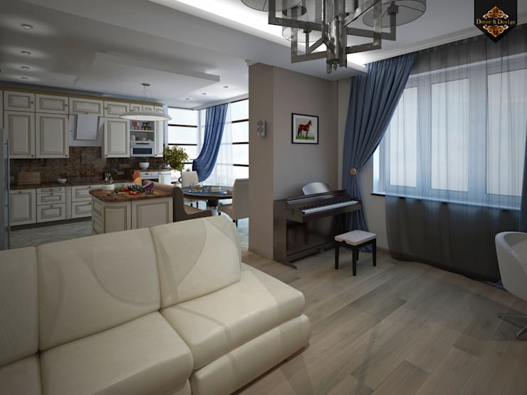 романтичный фьюжн: Гостиная в . Автор – Decor&Design