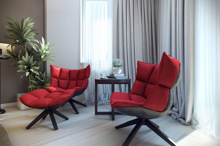 Трехкомнатная квартра в г.Новосибирск: Гостиная в . Автор – Design Studio Details, Эклектичный