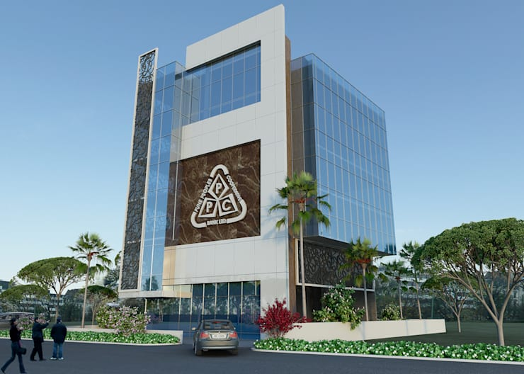 Front Elevation:  Office buildings by Sthaptya Vishwa Project Consultants
