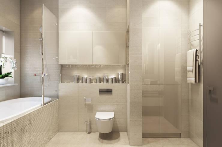 Трехкомнатная квартра в г.Новосибирск: Ванные комнаты в . Автор – Design Studio Details, Эклектичный